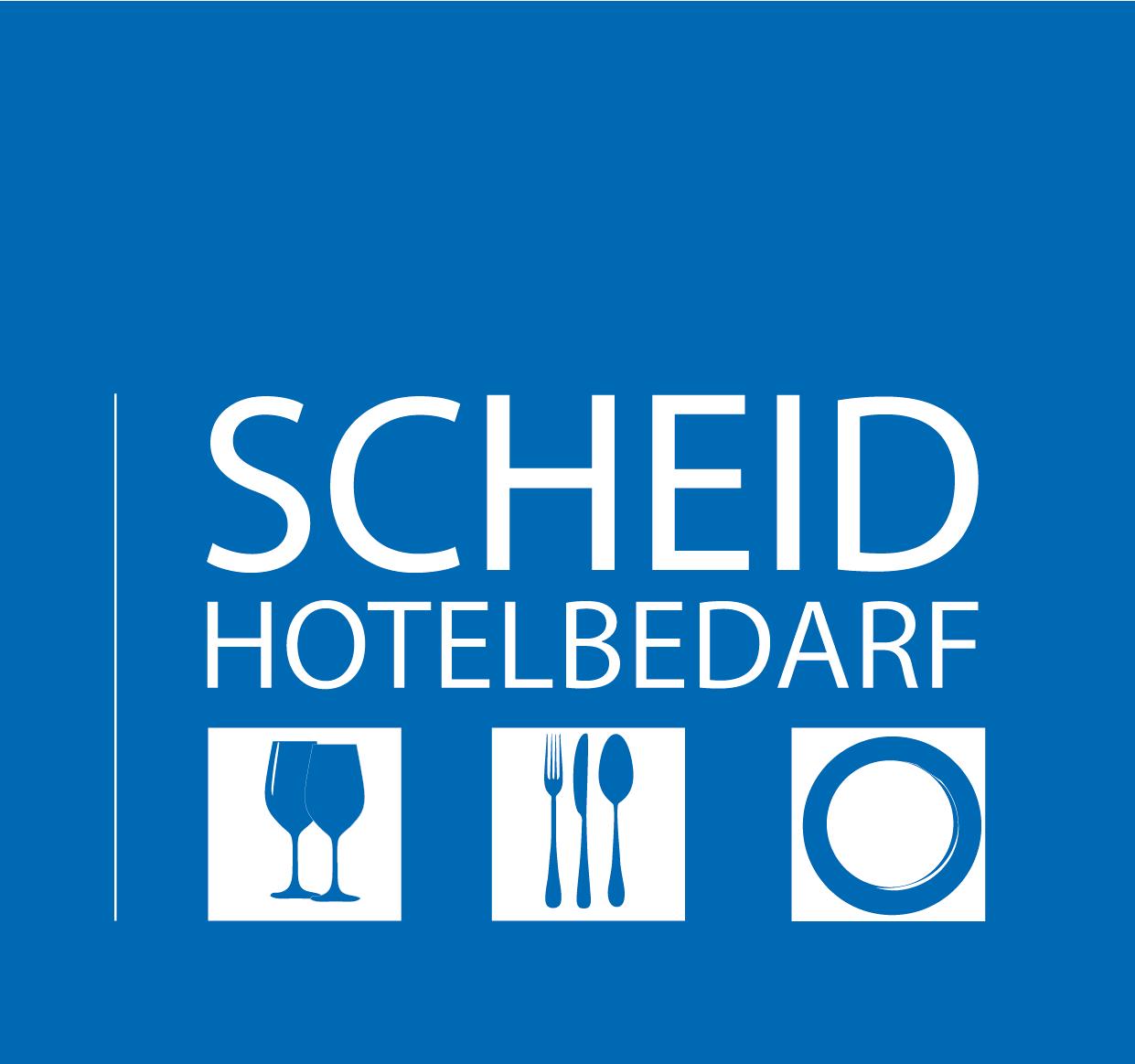 Scheid Hotelbedarf Logo negativ blau
